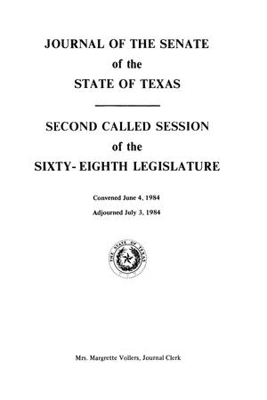 Journal of the Senate of the State of Texas, Second Called Session and First Called Session, Volume 3, of the Sixty-Eighth Legislature