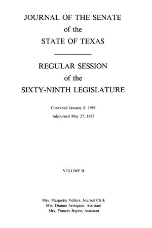 Primary view of object titled 'Journal of the Senate of the State of Texas, Regular Session of the Sixty-Ninth Legislature, Volume 2'.