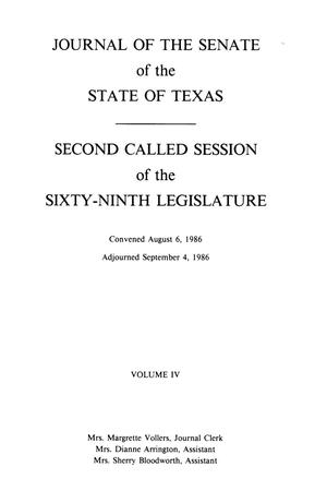 Primary view of object titled 'Journal of the Senate of the State of Texas, Second  and Third Called Sessions of the Sixty-Ninth Legislature, Volume 4'.