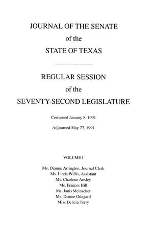 Primary view of object titled 'Journal of the Senate of the State of Texas, Regular Session of the Seventy-Second Legislature, Volume 1'.