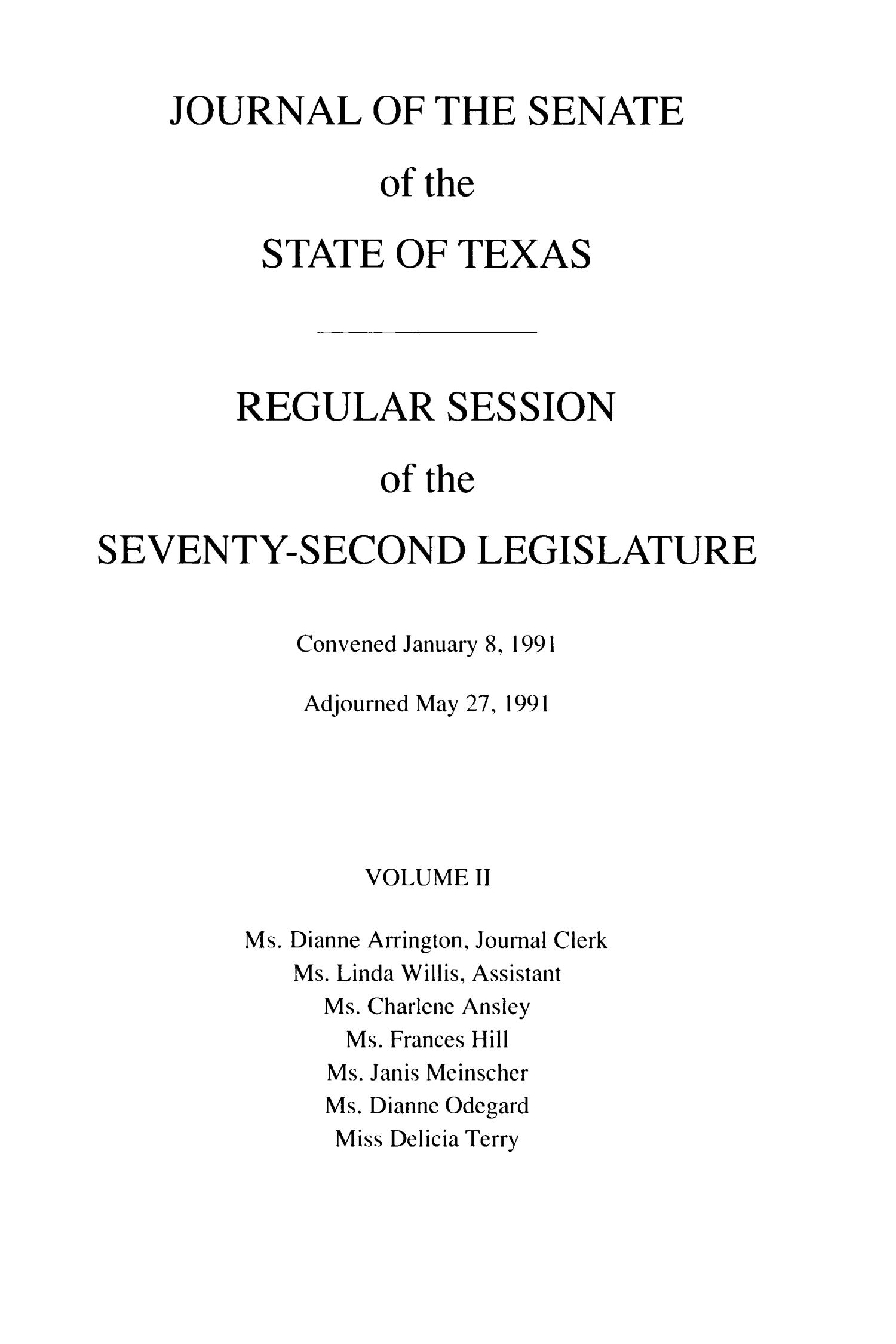 Journal of the Senate of the State of Texas, Regular Session of the Seventy-Second Legislature, Volume 2                                                                                                      Title Page