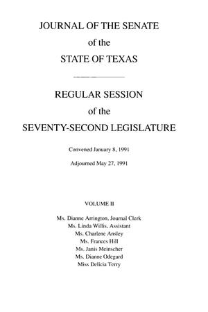 Primary view of object titled 'Journal of the Senate of the State of Texas, Regular Session of the Seventy-Second Legislature, Volume 2'.