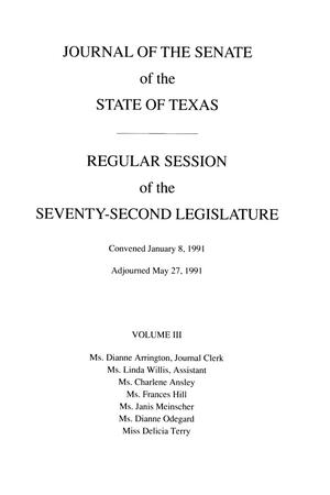 Primary view of object titled 'Journal of the Senate of the State of Texas, Regular Session of the Seventy-Second Legislature, Volume 3'.