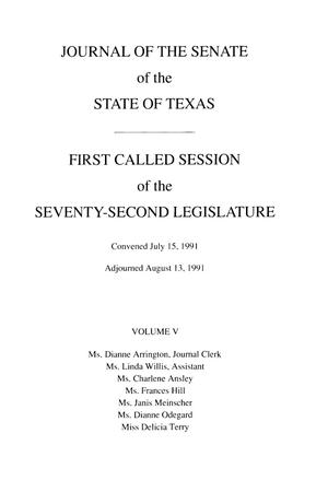 Primary view of object titled 'Journal of the Senate of the State of Texas, First Called Session of the Seventy-Second Legislature, Volume 5'.