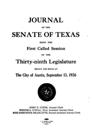 Primary view of object titled 'Journal of the Senate of Texas being the First Called Session of the Thirty-Ninth Legislature'.