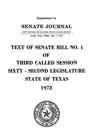 Primary view of object titled 'Supplement to Senate Journal, Sixty-Second Legislature, Third Called Session'.