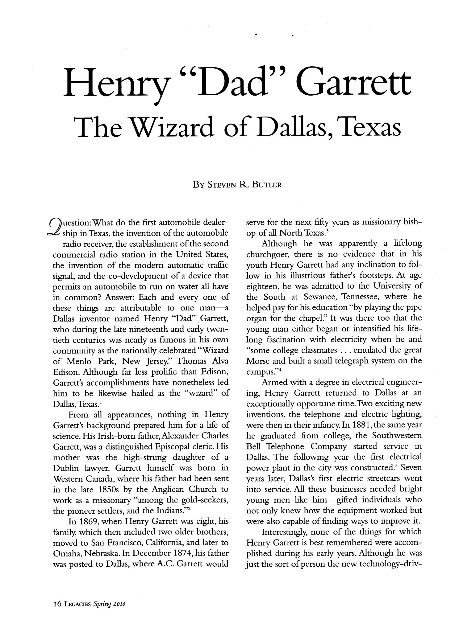 Legacies: A History Journal for Dallas and North Central Texas, Volume 22, Number 01, Spring 2010                                                                                                      16