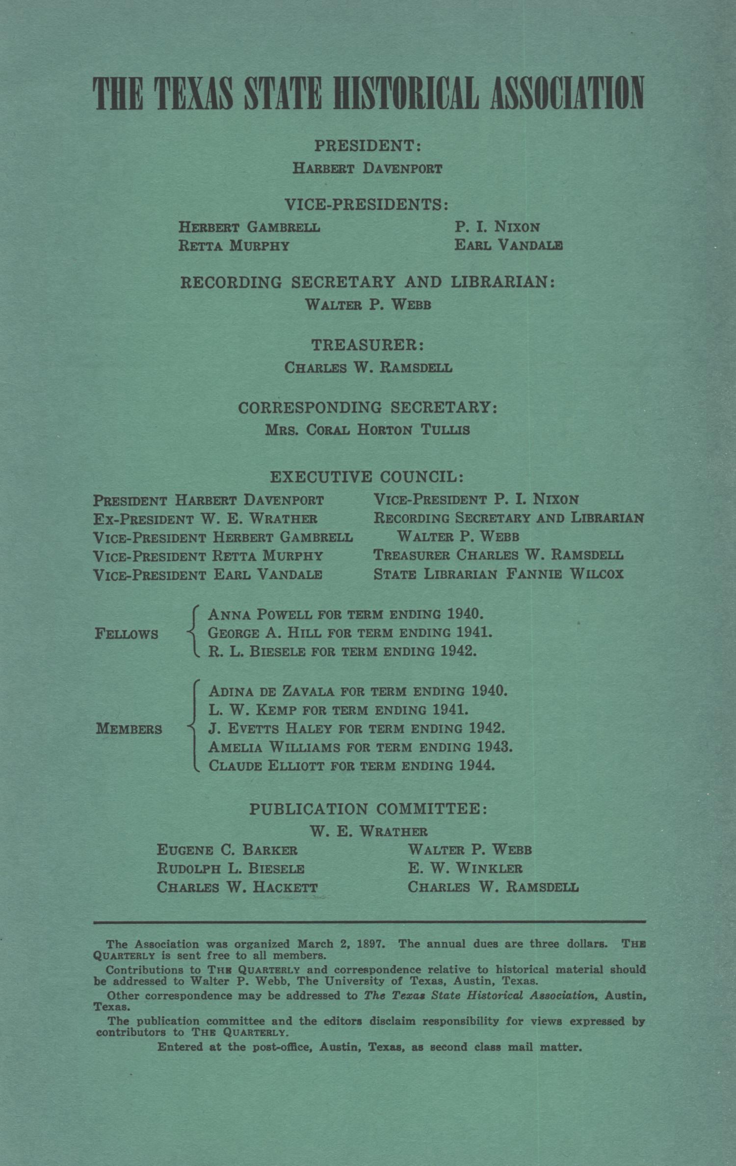 The Southwestern Historical Quarterly, Volume 44, July 1940 - April, 1941                                                                                                      Front Inside