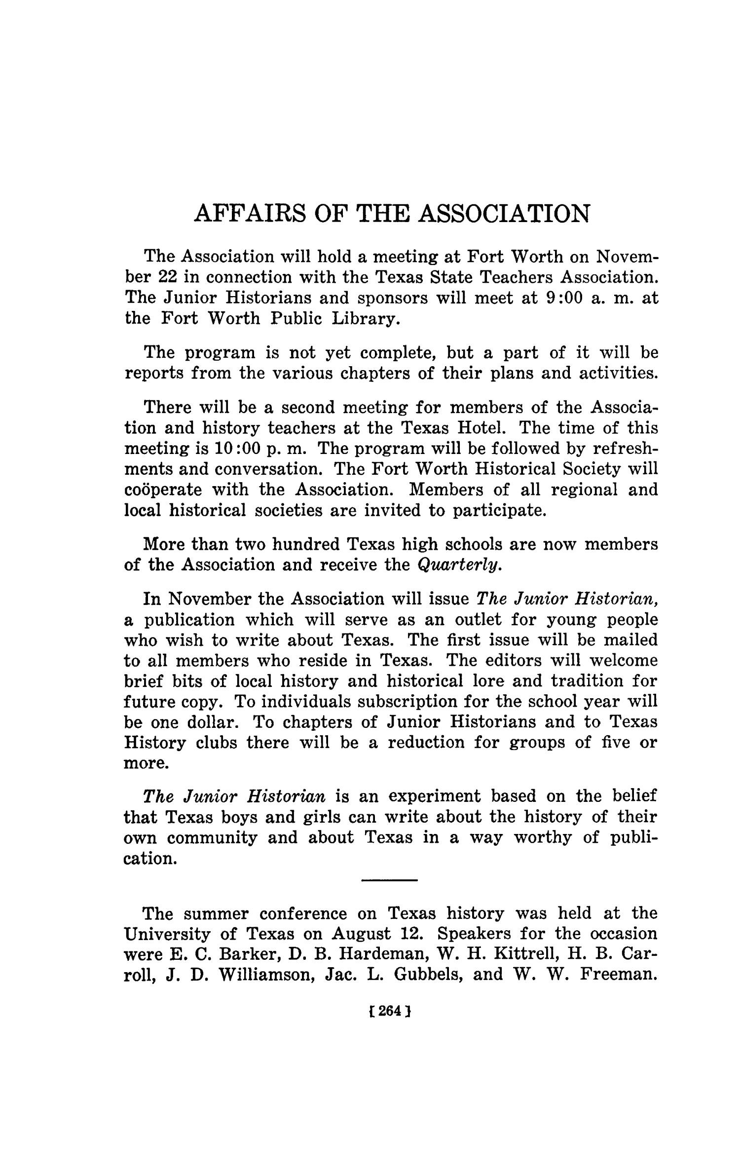 The Southwestern Historical Quarterly, Volume 44, July 1940 - April, 1941                                                                                                      264