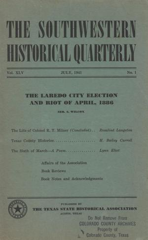 Primary view of object titled 'The Southwestern Historical Quarterly, Volume 45, July 1941 - April, 1942'.