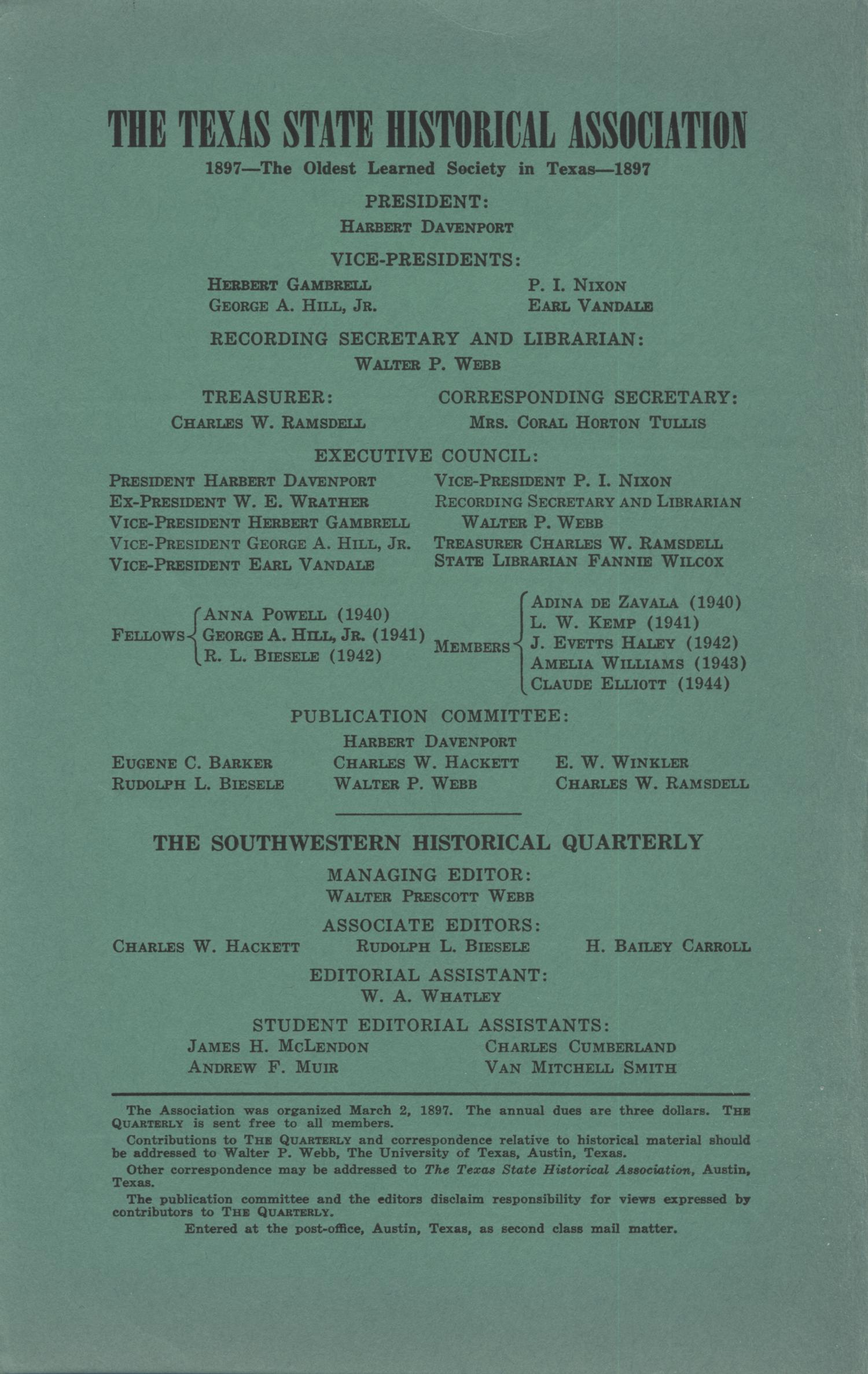 The Southwestern Historical Quarterly, Volume 45, July 1941 - April, 1942                                                                                                      Front Inside