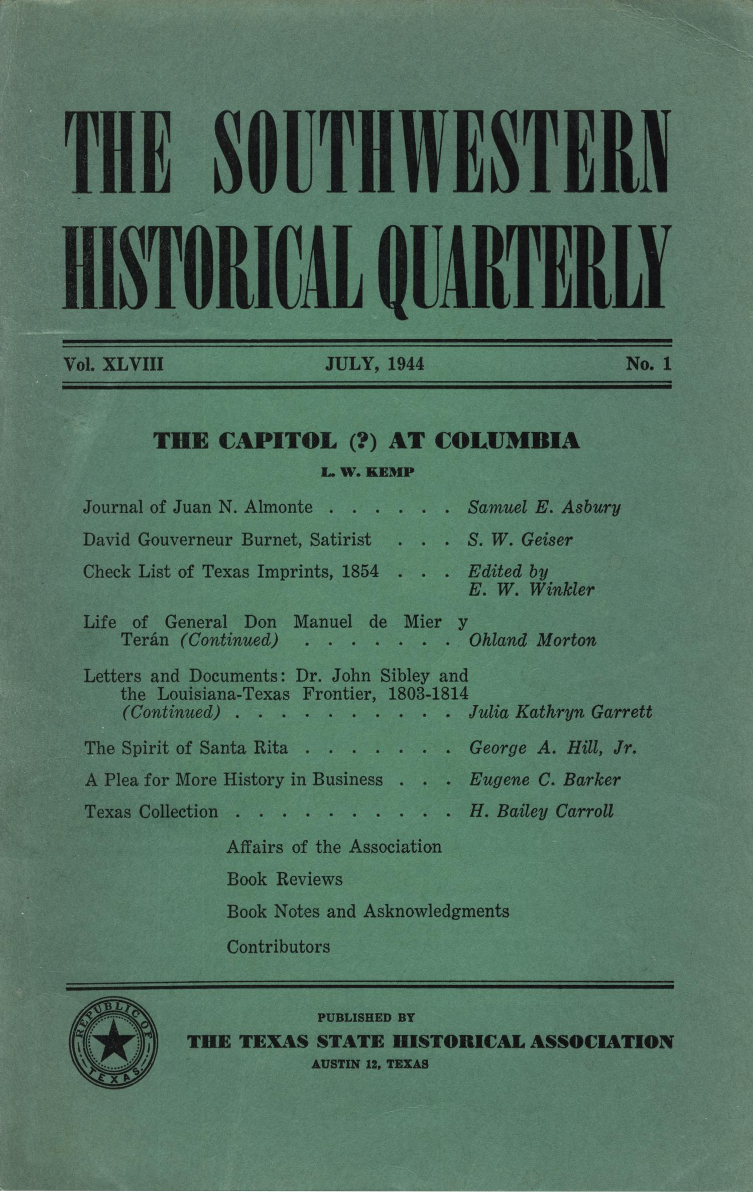 The Southwestern Historical Quarterly, Volume 48, July 1944 - April, 1945                                                                                                      Front Cover