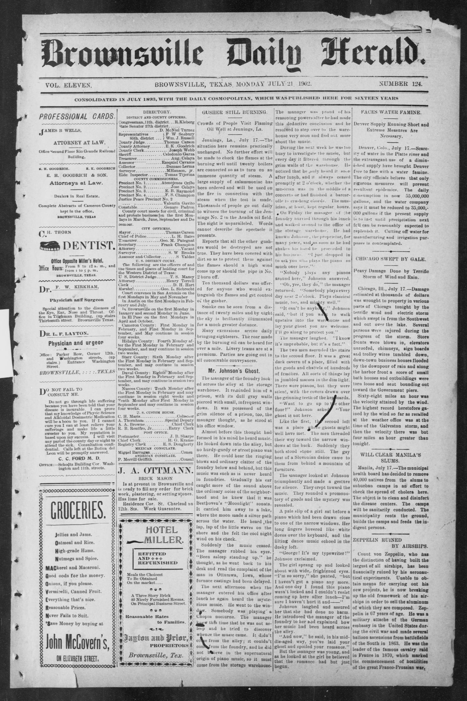 Brownsville Daily Herald (Brownsville, Tex.), Vol. ELEVEN, No. 124, Ed. 1, Monday, July 21, 1902                                                                                                      [Sequence #]: 1 of 4