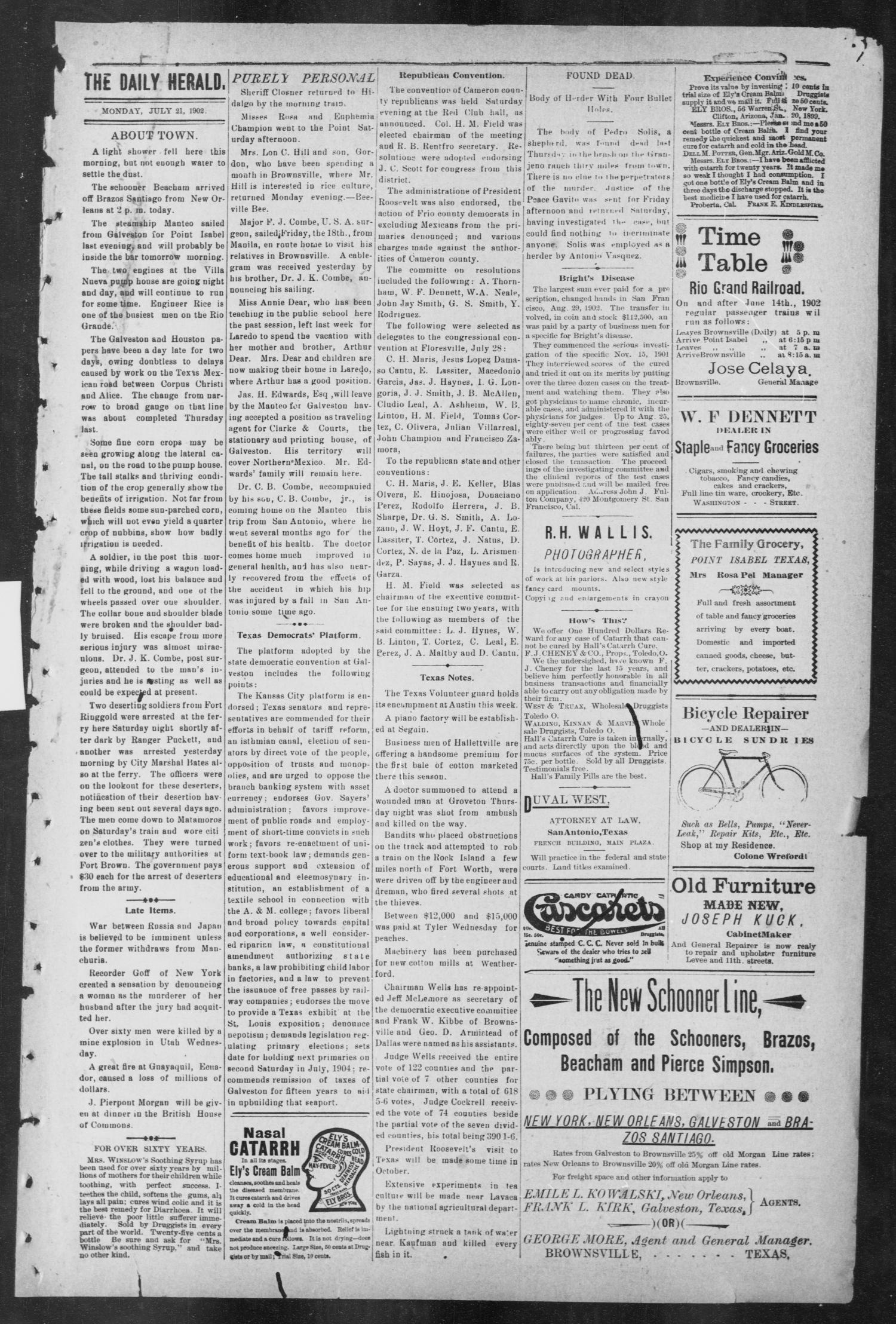 Brownsville Daily Herald (Brownsville, Tex.), Vol. ELEVEN, No. 124, Ed. 1, Monday, July 21, 1902                                                                                                      [Sequence #]: 3 of 4
