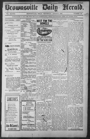 Primary view of object titled 'Brownsville Daily Herald (Brownsville, Tex.), Vol. ELEVEN, No. 138, Ed. 1, Wednesday, August 6, 1902'.