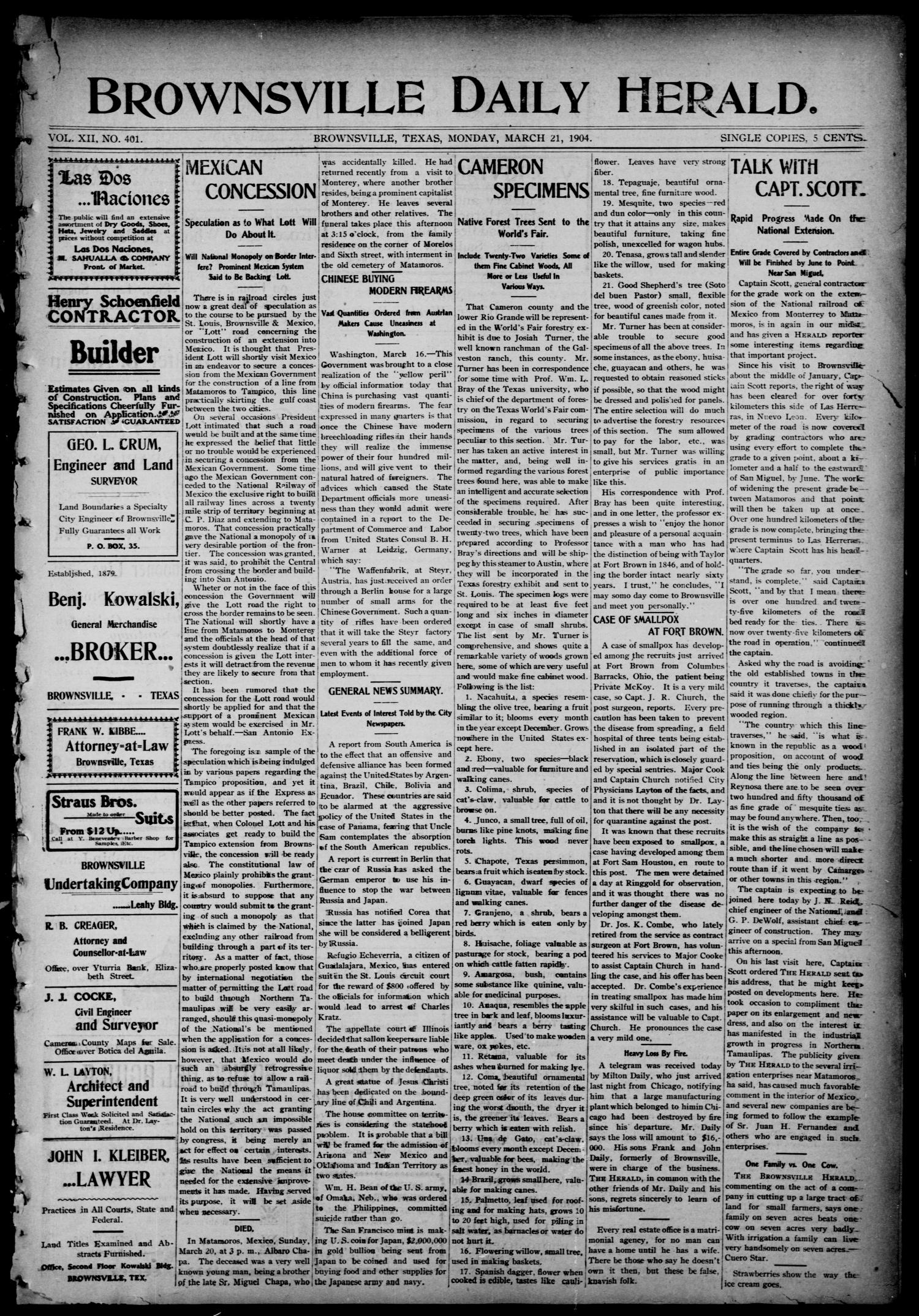 Brownsville Daily Herald (Brownsville, Tex.), Vol. 12, No. 401, Ed. 1, Monday, March 21, 1904                                                                                                      [Sequence #]: 1 of 4