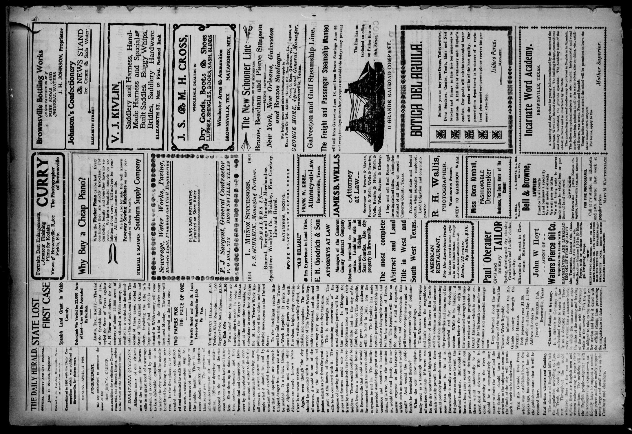 Brownsville Daily Herald (Brownsville, Tex.), Vol. 12, No. 419, Ed. 1, Monday, April 11, 1904                                                                                                      [Sequence #]: 2 of 4