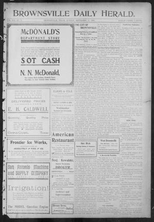 Primary view of object titled 'Brownsville Daily Herald (Brownsville, Tex.), Vol. 13, No. 71, Ed. 1, Monday, September 12, 1904'.