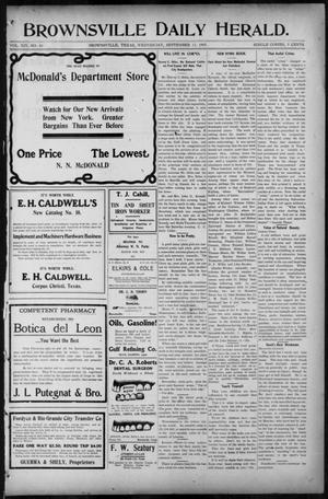 Primary view of Brownsville Daily Herald (Brownsville, Tex.), Vol. 14, No. 63, Ed. 1, Wednesday, September 13, 1905