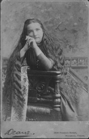 Primary view of object titled '[Charlien McNabb with very long hair, daughter of Carry Nation.]'.