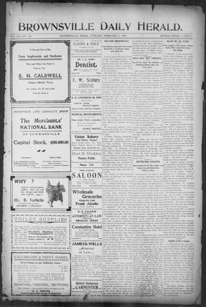 Primary view of object titled 'Brownsville Daily Herald (Brownsville, Tex.), Vol. 14, No. 186, Ed. 1, Tuesday, February 6, 1906'.
