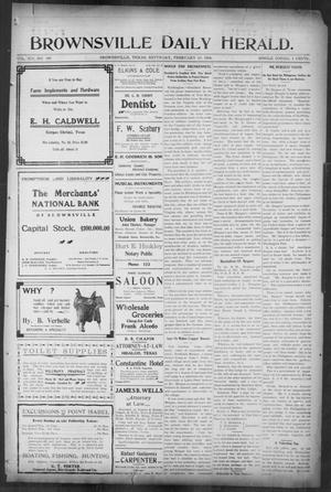 Primary view of object titled 'Brownsville Daily Herald (Brownsville, Tex.), Vol. 14, No. 190, Ed. 1, Saturday, February 10, 1906'.