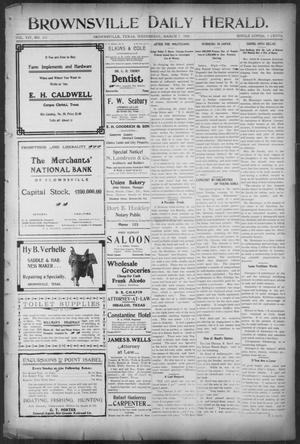 Primary view of object titled 'Brownsville Daily Herald (Brownsville, Tex.), Vol. 14, No. 211, Ed. 1, Wednesday, March 7, 1906'.