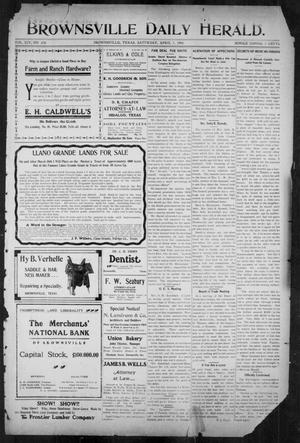 Primary view of object titled 'Brownsville Daily Herald (Brownsville, Tex.), Vol. 14, No. 238, Ed. 1, Saturday, April 7, 1906'.