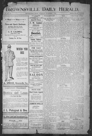 Primary view of object titled 'Brownsville Daily Herald (Brownsville, Tex.), Vol. 15, No. 104, Ed. 1, Thursday, November 1, 1906'.