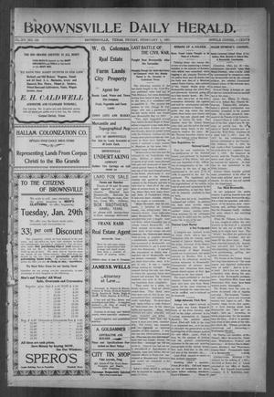 Primary view of object titled 'Brownsville Daily Herald (Brownsville, Tex.), Vol. 15, No. 181, Ed. 1, Friday, February 1, 1907'.