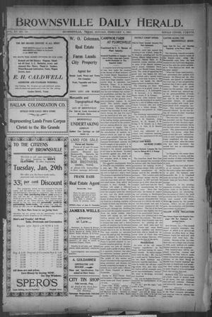 Primary view of object titled 'Brownsville Daily Herald (Brownsville, Tex.), Vol. 15, No. 183, Ed. 1, Monday, February 4, 1907'.
