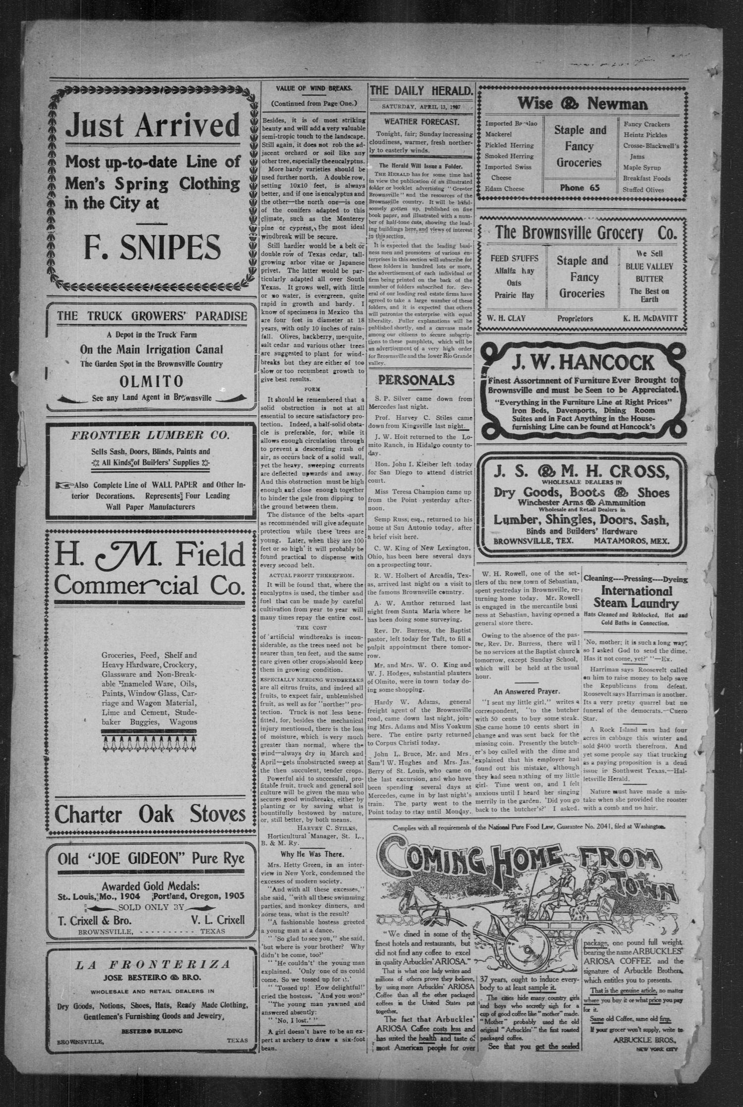 Brownsville Daily Herald (Brownsville, Tex.), Vol. 15, No. 243, Ed. 1, Saturday, April 13, 1907                                                                                                      [Sequence #]: 4 of 4