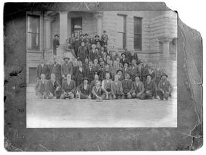 Primary view of object titled '[Portrait of Men on Courthouse Steps]'.