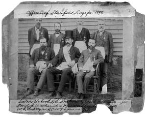 Primary view of object titled '[Portrait of Officers of Stanfield Lodge]'.
