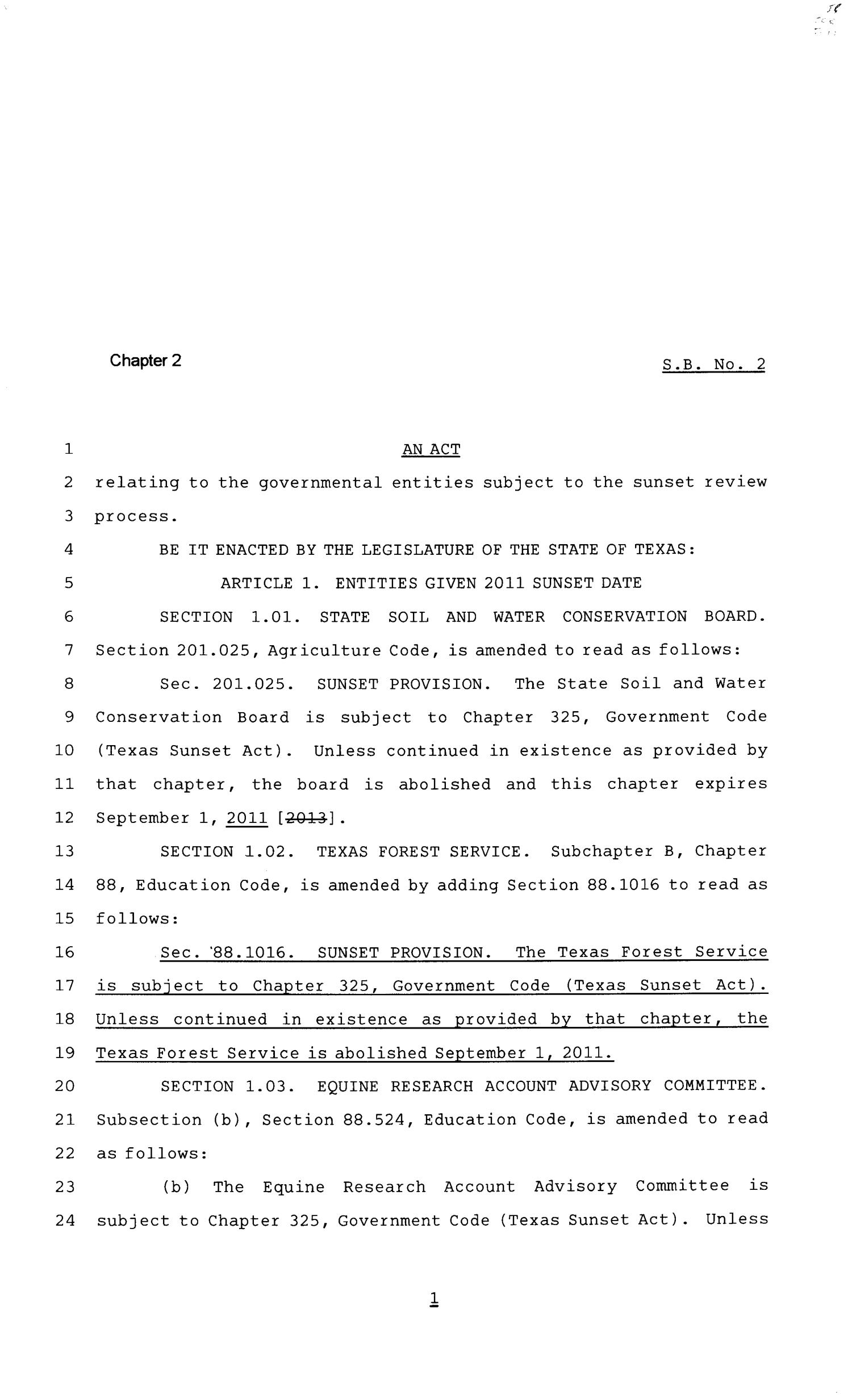 81st Texas Legislature, First Called Session, Senate Bill 2, Chapter 2                                                                                                      [Sequence #]: 1 of 14