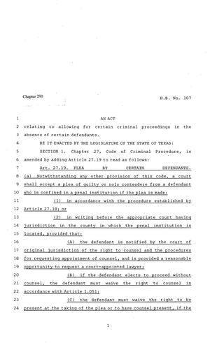 Primary view of object titled '81st Texas Legislature, Regular Session, House Bill 107, Chapter 291'.