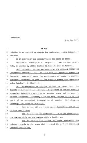 Primary view of object titled '81st Texas Legislature, Regular Session, House Bill 1671, Chapter 109'.