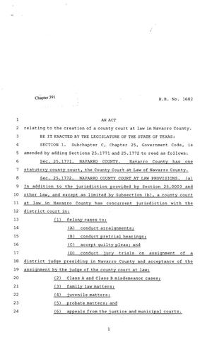 Primary view of object titled '81st Texas Legislature, Regular Session, House Bill 1682, Chapter 391'.