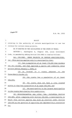 Primary view of object titled '81st Texas Legislature, Regular Session, House Bill 2032, Chapter 264'.