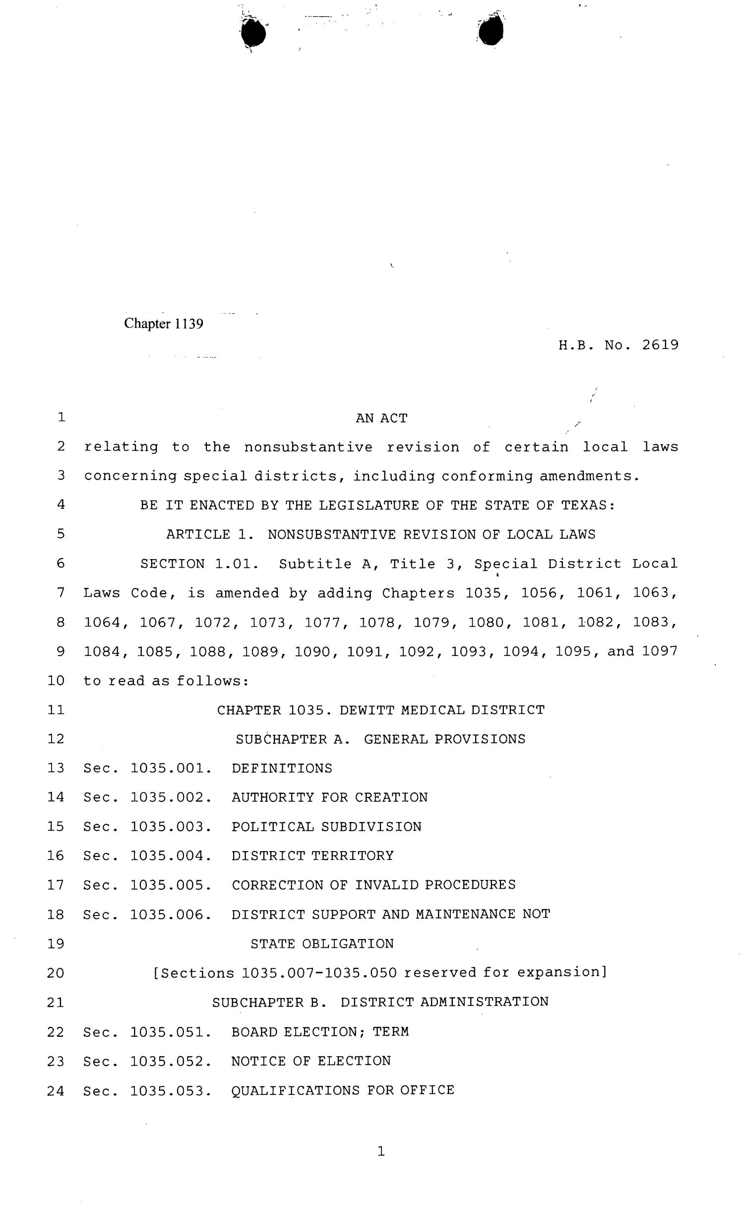 81st Texas Legislature, Regular Session, House Bill 2619, Chapter 1139                                                                                                      [Sequence #]: 1 of 950