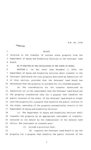 Primary view of object titled '81st Texas Legislature, Regular Session, House Bill 2728, Chapter 693'.