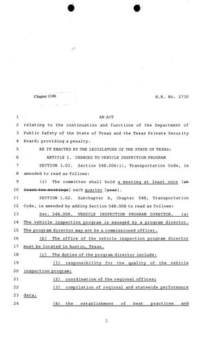 81st Texas Legislature, Regular Session, House Bill 2730, Chapter 1146