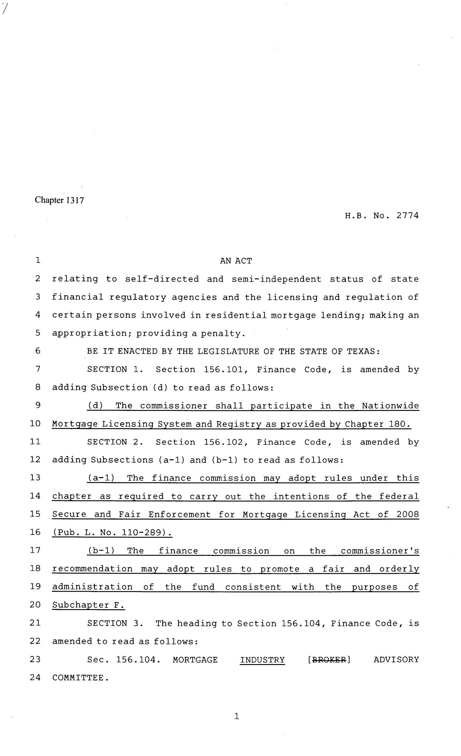 81st Texas Legislature, Regular Session, House Bill 2774, Chapter 1317                                                                                                      [Sequence #]: 1 of 47