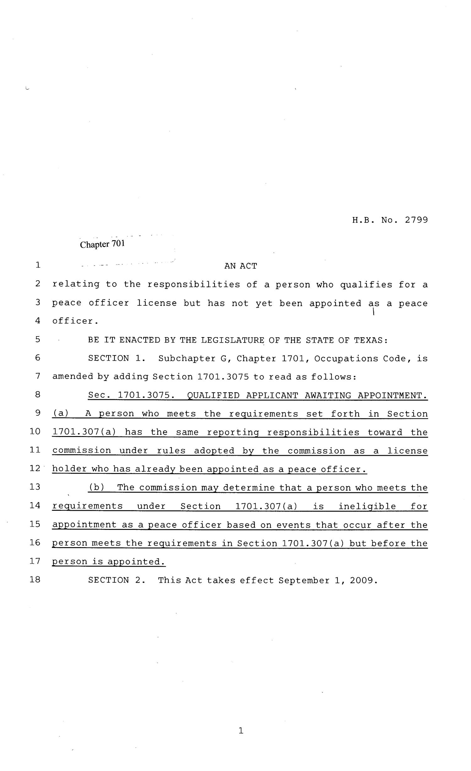 81st Texas Legislature, Regular Session, House Bill 2328, Chapter 701                                                                                                      [Sequence #]: 1 of 2