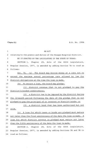 Primary view of object titled '81st Texas Legislature, Regular Session, House Bill 2994, Chapter 921'.