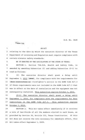 Primary view of object titled '81st Texas Legislature, Regular Session, House Bill 3628, Chapter 1181'.
