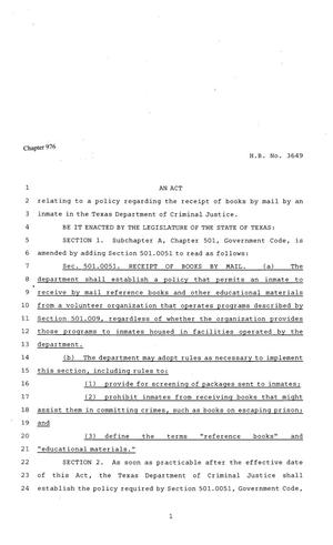 Primary view of object titled '81st Texas Legislature, Regular Session, House Bill 3649, Chapter 976'.