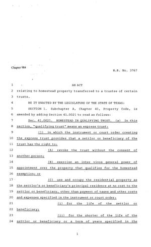 Primary view of object titled '81st Texas Legislature, Regular Session, House Bill 3767, Chapter 984'.