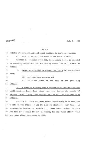 Primary view of object titled '81st Texas Legislature, Regular Session, House Bill 383, Chapter 899'.