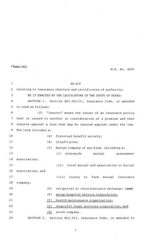 Primary view of object titled '81st Texas Legislature, Regular Session, House Bill 4291, Chapter 1022'.